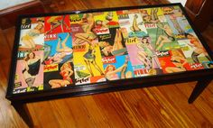 Vintage Pin-Up Girl Coffee Table - Decoupaged Cast Resin - Upcycled. $325.00, via Etsy.