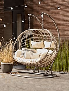 Double Indoor Outdoor Hanging Chair - Patio Furniture - Ideas of Patio Furniture. Diy Furniture Couch, Outdoor Garden Furniture, Garden Chairs, Outdoor Chairs, Outdoor Decor, Garden Hanging Chair, Hanging Chairs, Outdoor Hanging Chair, Furniture Ideas
