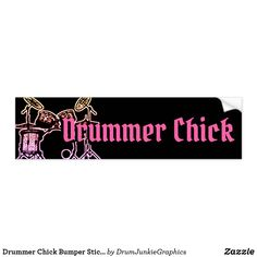 Drummer Chick Bumper Sticker Drum Band Drum Kit