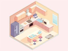 Isometric kitchen designed by kihoo♘ for KRI. Connect with them on Dribbble; Isometric Drawing Exercises, Isometric Art, Isometric Design, Kitchen Drawing, Game Room Design, Art Anime, Cute Drawings, Vector Design, Designs To Draw