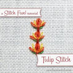 Hand Embroidery For Beginners Step by step instructions for tulip stitch - a simple hand embroidery stitch that can be used as a single stitch or worked in lines. Lots of possibilities for further embellishment with this fun stitch! Embroidery Stitches Tutorial, Hand Embroidery Patterns, Embroidery Techniques, Machine Embroidery Designs, Silk Ribbon Embroidery, Embroidery Kits, Simple Embroidery, Learning To Embroider, Needlework