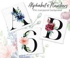 Letter Set, Black Letter, Wreath Watercolor, Watercolor Flowers, Free Advertising, Frame Wreath, Alphabet And Numbers, Flower Frame, Print Templates