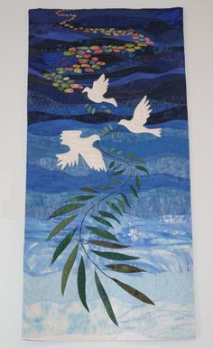 """Messengers of Hope"" by Karen Eckmeier Medfield United Church of Christ, MA Church Banners Designs, Church Design, Quilt Art, United Church Of Christ, Cross Quilt, Bird Quilt, A Course In Miracles, Animal Quilts, Landscape Quilts"