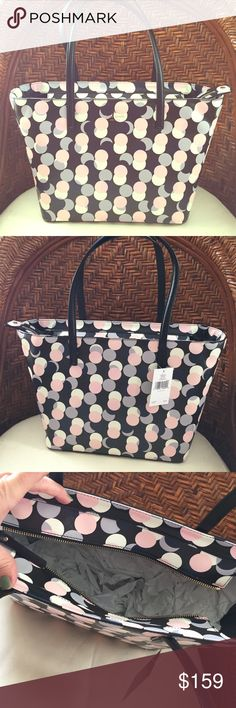 Kate Spade tote Gallery drive small harmony. Black background, pink, gray and cream dots.  Brand spanking new!!! Plenty big for all your stuff! kate spade Bags Totes