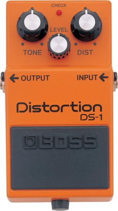Boss DS-1. This was chosen by GuitarSite.com as one of the top Distortion Pedals in 2016. For a detailed Guide to Distortion Pedals see http://www.guitarsite.com/best-distortion-pedal/
