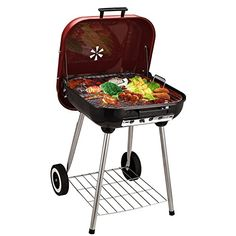 Outsunny Charcoal Trolley BBQ Garden Outdoor Barbecue Cooking Grill High Temperature Powder Wheel 45x47.5x70cm New