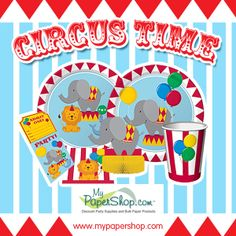 Circus Time Birthday Party Supplies design features brightly colored elephants, lions, and seals. This bulk party ensemble is printed on the following tableware items: Paper Napkins, Plates, Cups, and Plastic Tablecloths. http://www.mypapershop.com/circus-time-birthday-party-supplies.html