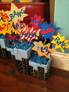 Even Superheroes Turn 30 Eventually... Superman Themed 30th Birthday Centerpieces - Custom Paper Goods - www.lepetitpapierbymonica.com