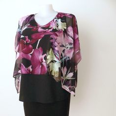 ANTHEA CRAWFORD Top Floral Cold Shoulder Tunic Style Size XL Made in Australia | eBay Australian Fashion Designers, Cold Shoulder, Floral Tops, Tunic, Black And White, Purple, How To Make, Ebay, Color