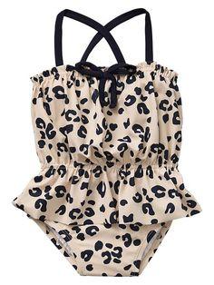 Baby Gap NWT Leopard Peplum One-Piece Swimsuit 18 24 2 3 4 5
