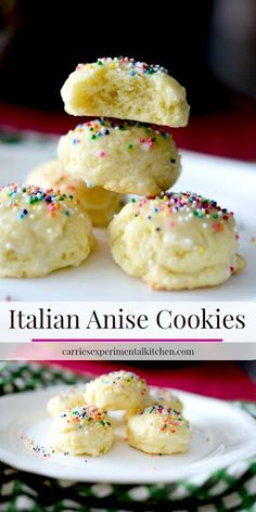 italian christmas cookies Weihnachtspltzchen Italian Anise Cookies traditionally are a soft, licorice flavored cookie covered with a powdered sugar glaze and nonpareils sprinkled on top. Italian Cookie Recipes, Easy Cookie Recipes, Cookie Desserts, Snack Recipes, Dessert Recipes, Snacks, Cake Recipes, Cooking Recipes, Italian Wedding Cookies
