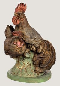 Concrete Garden Statuary-hen and rooster
