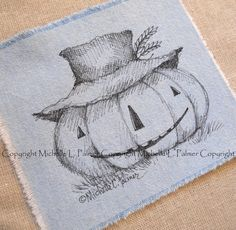 Large Original Pen Ink on Fabric Illustration by MichellePalmer