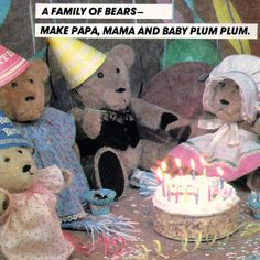 Vintage ©1983 Teddy Bears with Cute Outfits! McCall's Crafts Sewing Pattern 8832, Family of  Bialosky Bears! Papa, Mama and Baby Plum Plum. by karl79 on Etsy