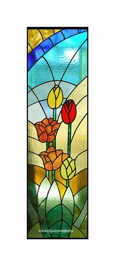 Tulip Stained Glass. Yellow Orange &Red by Stainedglassmark4you