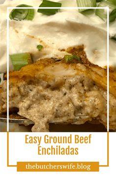 Easy Ground Beed Enchiladas - kids love these enchiladas Ground Beef Enchiladas, 9x13 Baking Dish, Fast Easy Meals, Enchilada Sauce, Mushroom Soup, Creamed Mushrooms, Fall Recipes, Pumpkin Spice, Good Food