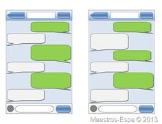 Cool idea for a writing activity. Template of iPhone conversations as a template for a dialogue.