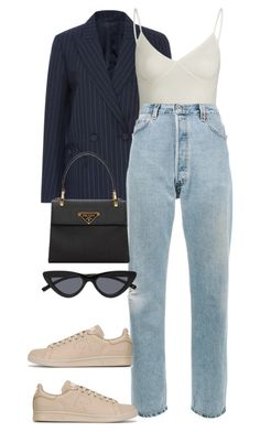 """Look: #615"" by dollarwomanlux ❤ liked on Polyvore featuring Blazé Milano, RE/DONE, adidas and Prada"