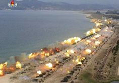 North Korean mass artillery fire exercise April 2017 to intimidate usa