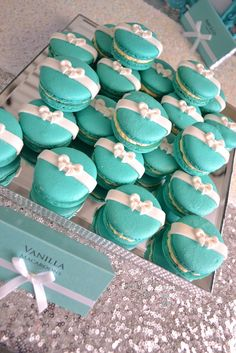 "Gorgeous macarons at a TIFFANY & CO Baby Shower! See more party ideas at CatchMyParty.com! ❥""Hobby&Decor"" 