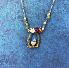 Handmade Enamel Birch on a Perch Necklace, 3D, Gold, Nature, Animal, Spring, Flowers, Unique, Mother's Day
