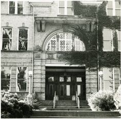 Ewing Hall front (north) door.  Ewing was demolished in 1974. :: Ohio University Archives