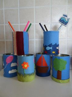 Come riciclare lattine: porta matite in feltro (how to recycle cans - pencils case felted)
