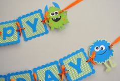 Monster Bash Banner Monster Happy Birthday Banner by DesignsByDodi
