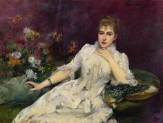 """""""La dama con las flores"""" (1883). Obra de Louise Abbéma (1853-1927)."""