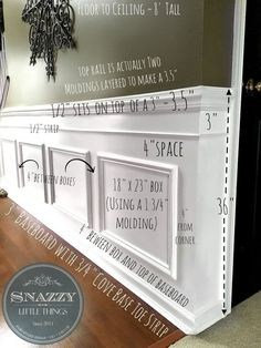 Idée décoration et relooking salle à manger Tendance Image Description Updated based on reader request, exact measurements of our wainscoting. #snazzylittlethings