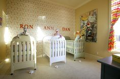This family planned for triplets and gave them the dream room ($2,000) any triplet parent desires. We love seeing children's names on the wall.