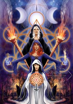 Triple Goddess; maiden, mother and crone. wicca. witchcraft. witch. lunar. moon. magic.