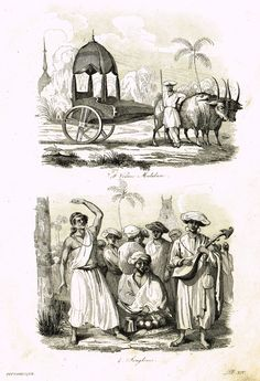 """De Sainson's 'Autour du Monde' - """"VOITURE MALABARC"""" - (INDIA) - Steel Engraving - 1836"""