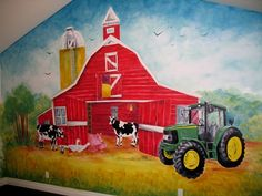 This could be the coolest barnyard and JOHN DEERE wall that I have ever seen.  This would work great in my office at the dealership!  Great job...