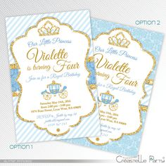 Gold glitter and blue Princess birthday party par CreastelleParty