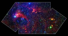 Hidden behind a shroud of dust in the constellation Cygnus is a stellar nursery called DR21, which is giving birth to some of the most massive stars in our galaxy.  This colorful image is a large-scale composite mosaic of this region assembled from data collected at infrared and visible wavelengths.