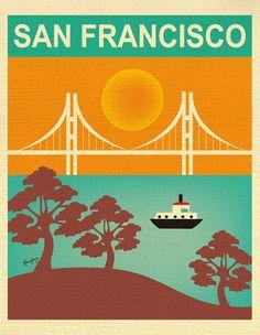 San Francisco Art, San Francisco Skyline, San Francisco Wall Art, San Francisco…