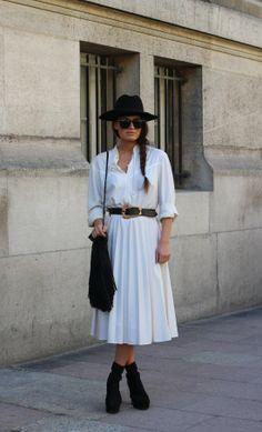 #dress #whitedress #pleatedskirt #hat #glasses #fashion #mode #moda #women #paris #streetstyle #streetview #street #style #offcatwalk on #sophiemhabille