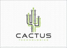 Logo for sale: Digital data cactus logo design with the cactus created with overlapping connecting lines representing the flow of information and data over a technology network. The circles represent the cactus needles, while also representing the data flow.