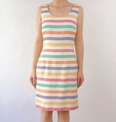 VINTAGE 1990s Color Striped Dress Small by WearitWellvintage