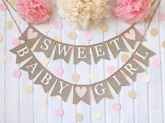 Popular Baby shower Decorations, Baby Shower Invitations, Baby Shower Favors, Baby shower Games, Gender Reveal Party Decorations and Supplies Girl Baby Shower Decorations, Baby Shower Themes, Baby Boy Shower, Table Decorations, Shower Bebe, Diy Shower, Shower Ideas, Baby Girl Sprinkle, Burlap Baby Showers