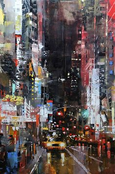 Manhattan Night Lights by Mark Lague Oil ~ 36 x 24 Skyline Painting, City Painting, Cityscape Art, Oil Painting Abstract, Light Painting, Urban Painting, Urban Landscape, Landscape Art, Landscape Paintings