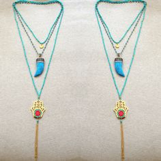 Have #fun  during the #last #days  of #summer ☀️☀️☀️ with the all #blue  #layered #necklaces . Here we have the #beaded   #blue #Hamsa #necklace #doubled ✌️ and layered with the #turquoise   #horn #short necklace  #layerednecklace #trend #teentrend #summerfun #summerjewels #funjewelry #hamsanecklace #hornnecklace #turquoisejewelry #musthave #spamforspam #tagsforlikes #likesforlikes #followforfollow