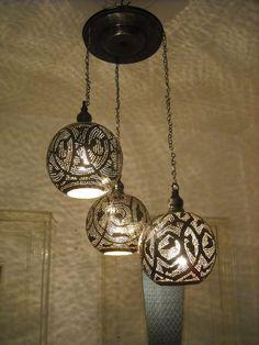 Moroccan Black Oxidize Ceiling Fixture Chandelier Lamp