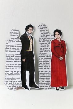 Mr.Darcy & Elizabeth Bennet Bookmark Handmade (would be fun with Downton Abbey characters too)