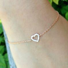 Rose Gold Heart Bracelet Cubic Zirconia by anatoliantaledesign, $31.00