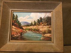 "Superb Vintage Glenn F Bastian Oil Painting - Signed Framed ""Trout Fishing"" painting by  Glenn F Bastian (1890-1966, American Indiana Artist). It is a oil on canvas board and is signed by the artist in the lower right. It is also titled and stamped with the artists name on the back and housed in a carved wood frame. dimensions as follows: Frame: 11.25 inches wide, 9.0 inches tall and 1.5 inches deep. Image: 7.5 inches wide and 5.75 inches  $200.00 Was: $250.00 or Best Offer +$25.00 shipping"