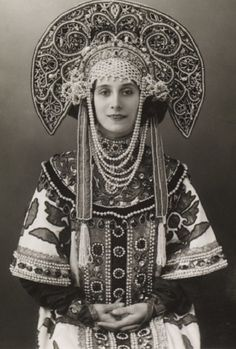 Lilac TutuVintage Photography Ballerina Anna Pavlova wearing a Russian costume. Russian Beauty, Russian Fashion, Historical Costume, Historical Clothing, Vintage Photographs, Vintage Photos, Ana Pavlova, Costume Russe, Tatoo