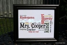 Wordle Teacher Gift- have each student give 3 word phrase to describe teacher- great idea!