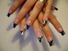 glitter & black angle tips ☆ Toe Nail Art, Toe Nails, Black And White Nail Art, Black Silver, Becoming A Makeup Artist, Nails 2015, Dance Makeup, Mani Pedi, Nail Tech